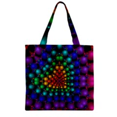 Mirror Fractal Balls On Black Background Zipper Grocery Tote Bag by Simbadda