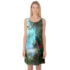 Beautiful Peacock Colorful Sleeveless Satin Nightdress by Simbadda