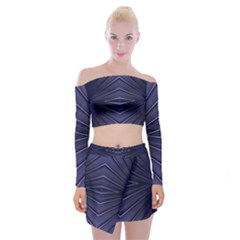 Blue Metal Abstract Alternative Version Off Shoulder Top With Skirt Set
