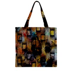 Fabric Weave Zipper Grocery Tote Bag