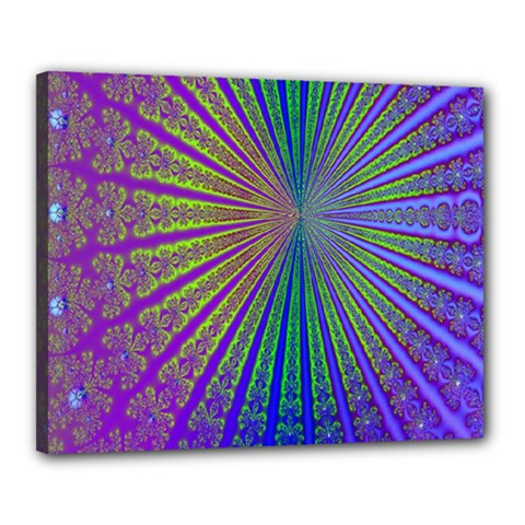 Blue Fractal That Looks Like A Starburst Canvas 20  X 16  by Simbadda