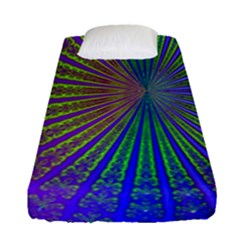 Blue Fractal That Looks Like A Starburst Fitted Sheet (single Size) by Simbadda