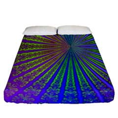 Blue Fractal That Looks Like A Starburst Fitted Sheet (queen Size) by Simbadda
