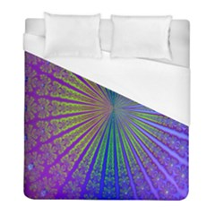 Blue Fractal That Looks Like A Starburst Duvet Cover (full/ Double Size) by Simbadda