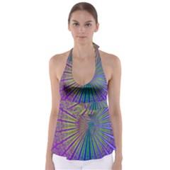 Blue Fractal That Looks Like A Starburst Babydoll Tankini Top by Simbadda