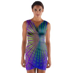 Blue Fractal That Looks Like A Starburst Wrap Front Bodycon Dress