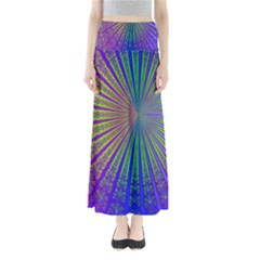 Blue Fractal That Looks Like A Starburst Maxi Skirts by Simbadda