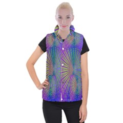 Blue Fractal That Looks Like A Starburst Women s Button Up Puffer Vest
