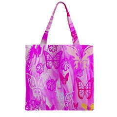 Butterfly Cut Out Pattern Colorful Colors Zipper Grocery Tote Bag