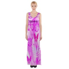 Butterfly Cut Out Pattern Colorful Colors Maxi Thigh Split Dress by Simbadda