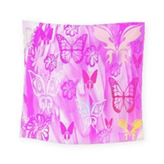 Butterfly Cut Out Pattern Colorful Colors Square Tapestry (small) by Simbadda