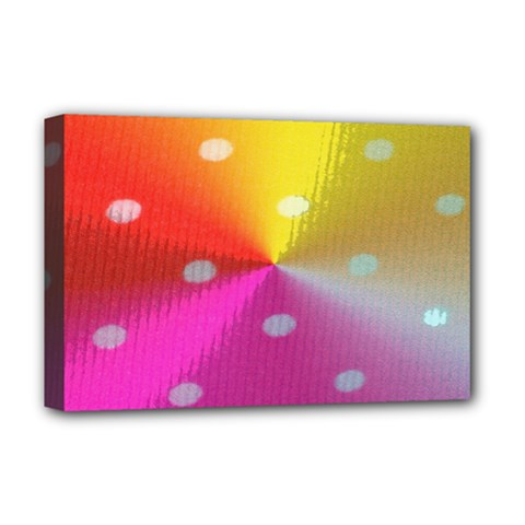 Polka Dots Pattern Colorful Colors Deluxe Canvas 18  X 12   by Simbadda