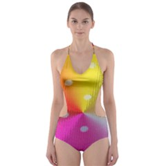 Polka Dots Pattern Colorful Colors Cut Out One Piece Swimsuit