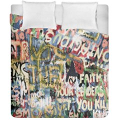 Graffiti Wall Pattern Background Duvet Cover Double Side (california King Size) by Simbadda