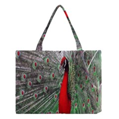 Red Peacock Medium Tote Bag by Simbadda