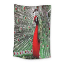 Red Peacock Small Tapestry by Simbadda