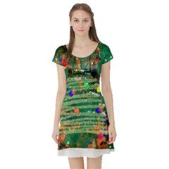 Watercolour Christmas Tree Painting Short Sleeve Skater Dress by Simbadda