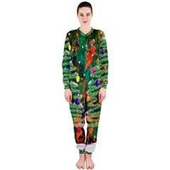 Watercolour Christmas Tree Painting Onepiece Jumpsuit (ladies)
