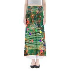 Watercolour Christmas Tree Painting Maxi Skirts