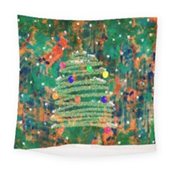 Watercolour Christmas Tree Painting Square Tapestry (large) by Simbadda