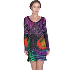 Peacock Feather Rainbow Long Sleeve Nightdress by Simbadda