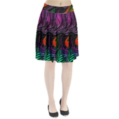 Peacock Feather Rainbow Pleated Skirt