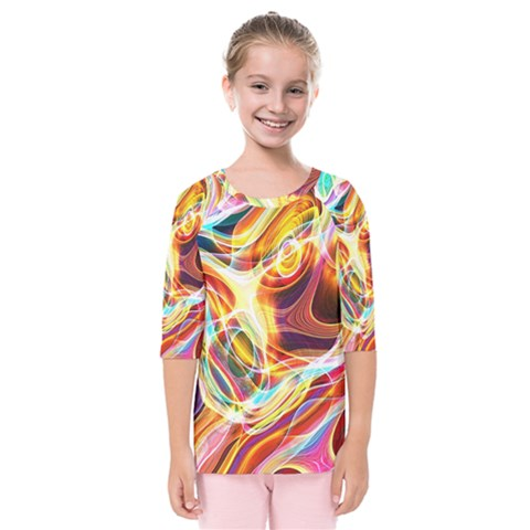 Colourful Abstract Background Design Kids  Quarter Sleeve Raglan Tee by Simbadda