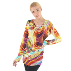 Colourful Abstract Background Design Women s Tie Up Tee by Simbadda