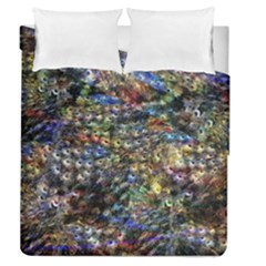 Multi Color Peacock Feathers Duvet Cover Double Side (queen Size)