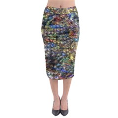 Multi Color Peacock Feathers Midi Pencil Skirt by Simbadda