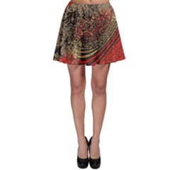 Red Gold Black Background Skater Skirt by Simbadda
