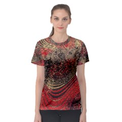 Red Gold Black Background Women s Sport Mesh Tee by Simbadda