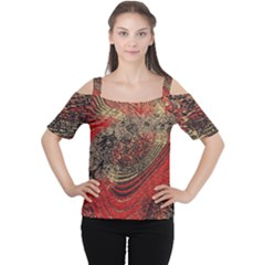 Red Gold Black Background Women s Cutout Shoulder Tee