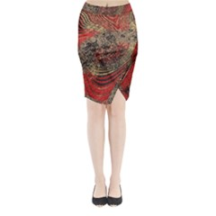 Red Gold Black Background Midi Wrap Pencil Skirt