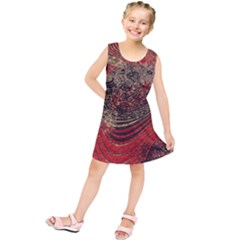 Red Gold Black Background Kids  Tunic Dress