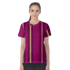 Stripes Background Wallpaper In Purple Maroon And Gold Women s Cotton Tee
