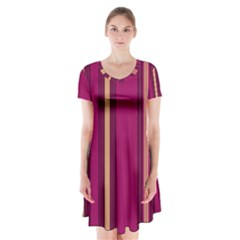 Stripes Background Wallpaper In Purple Maroon And Gold Short Sleeve V Neck Flare Dress