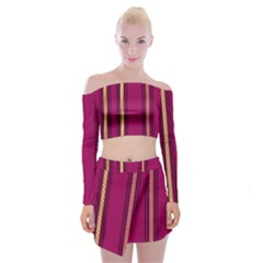 Stripes Background Wallpaper In Purple Maroon And Gold Off Shoulder Top With Skirt Set