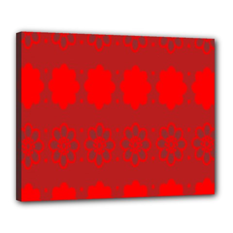 Red Flowers Velvet Flower Pattern Canvas 20  X 16  by Simbadda