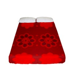 Red Flowers Velvet Flower Pattern Fitted Sheet (full/ Double Size)