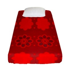 Red Flowers Velvet Flower Pattern Fitted Sheet (single Size)