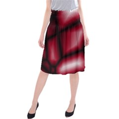 Red Abstract Background Midi Beach Skirt