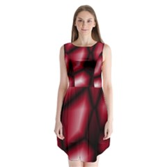 Red Abstract Background Sleeveless Chiffon Dress   by Simbadda