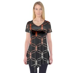 Cadenas Chinas Abstract Design Pattern Short Sleeve Tunic