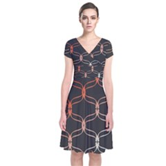 Cadenas Chinas Abstract Design Pattern Short Sleeve Front Wrap Dress