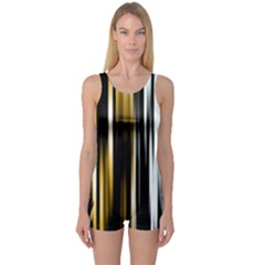 Digitally Created Striped Abstract Background Texture One Piece Boyleg Swimsuit