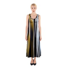 Digitally Created Striped Abstract Background Texture Sleeveless Maxi Dress
