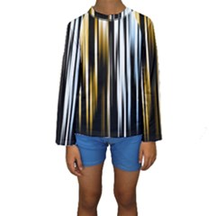 Digitally Created Striped Abstract Background Texture Kids  Long Sleeve Swimwear