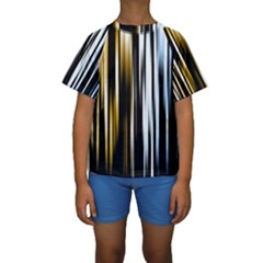 Digitally Created Striped Abstract Background Texture Kids  Short Sleeve Swimwear