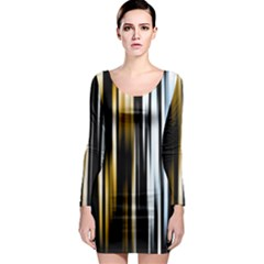 Digitally Created Striped Abstract Background Texture Long Sleeve Bodycon Dress